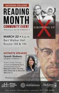 Jackson College Reading Month Community Events @ Jackson College, Bert Walker Hall, Rooms 144 & 145 | Jackson | Michigan | United States