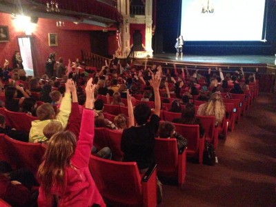 Elementary school students at a cultural competency program at TIbbits Opera House. Photo by Tamara Barnes.