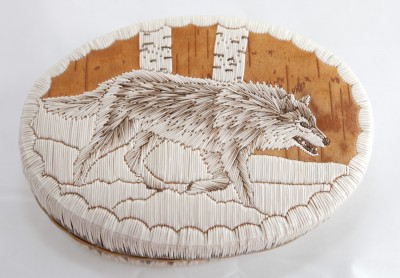 Quill Box with wolf. Artist: Arnold Shawanoo Walker